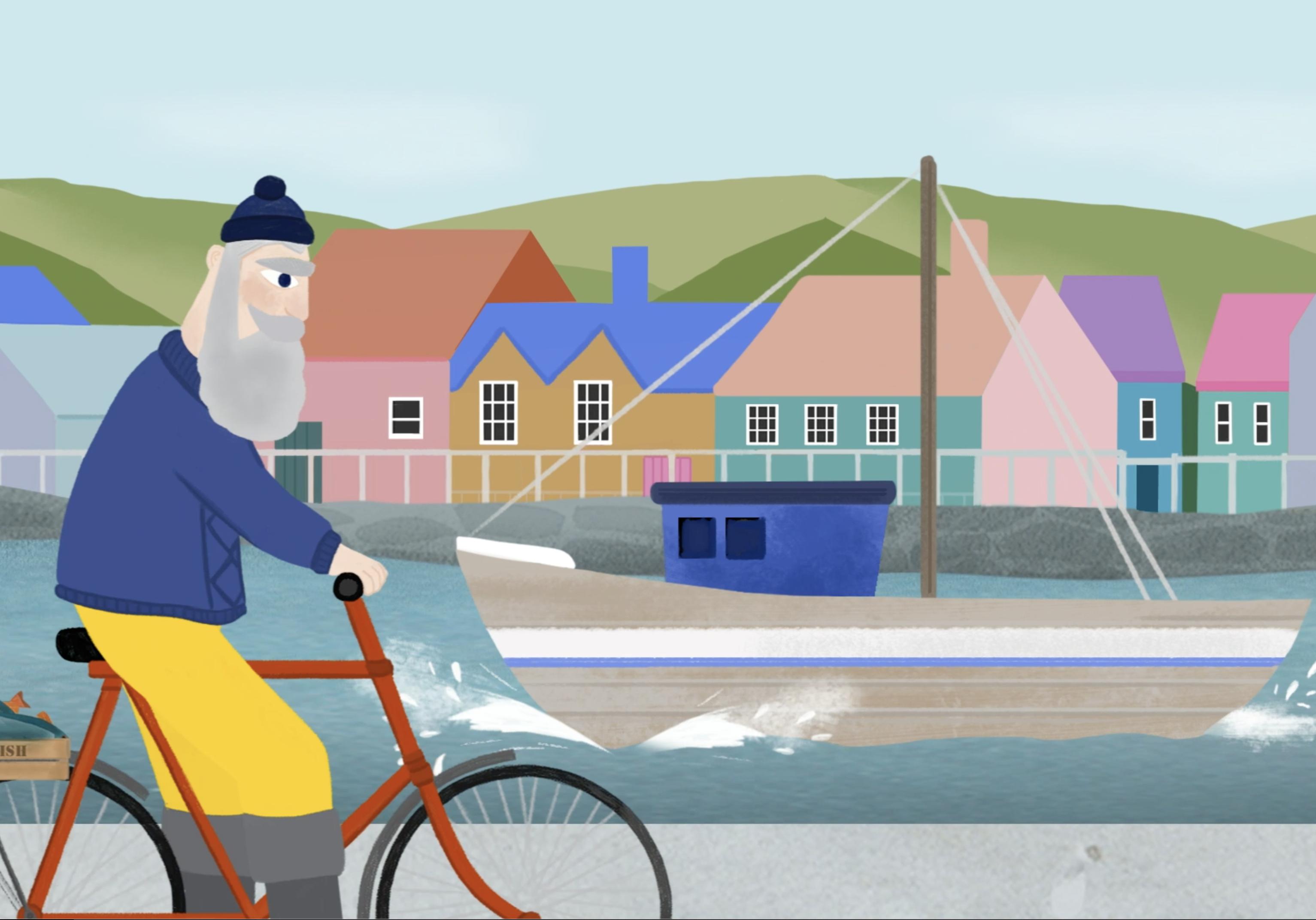 Cycling fisherman